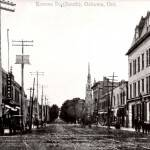 Looking south down Simcoe Street at Four Corners, 1908