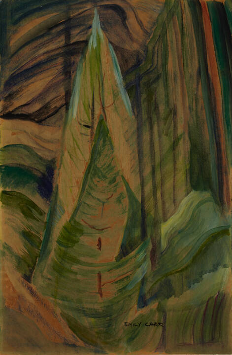 Emily Carr (Canadian, 1871-1945); Untitled; n.d.; watercolour on paper laid down on cardboard; gift of the estate of Isabel McLaughlin, 2003