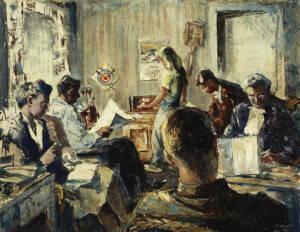 Joseph Sydney Hallam (Canadian, 1899 - 1953); Rainy Weekend; 1946; oil on masonite; Gift of Paul Hallam, 2002