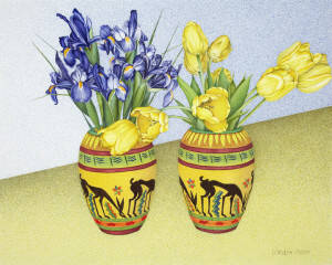 Tulips and Iris in Antelope Vase (1989) Watercolour and graphite on paper Gift of Ella and Ward Irwin