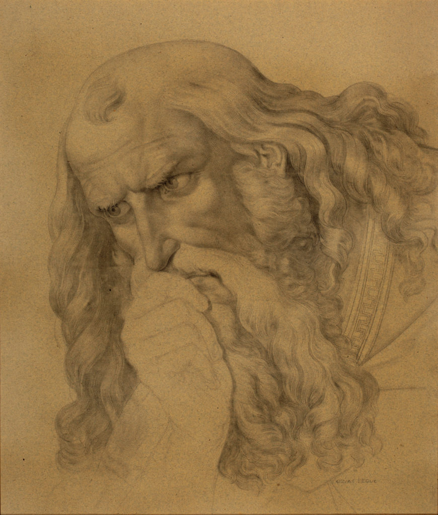 Detailed drawing of a man with long hair and a long beard leaning on his hand and thinking.