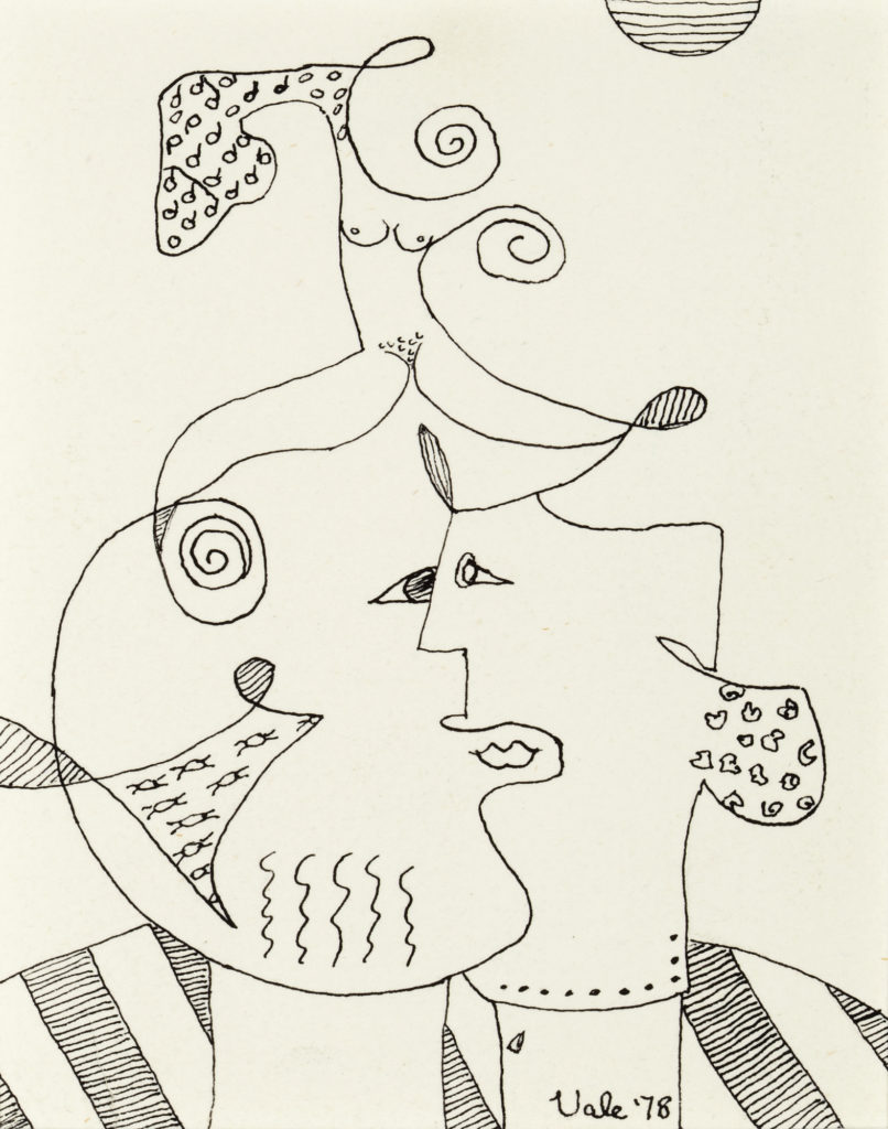 Abstract sketch of two faces and a nude, female figure by Florence Vale.