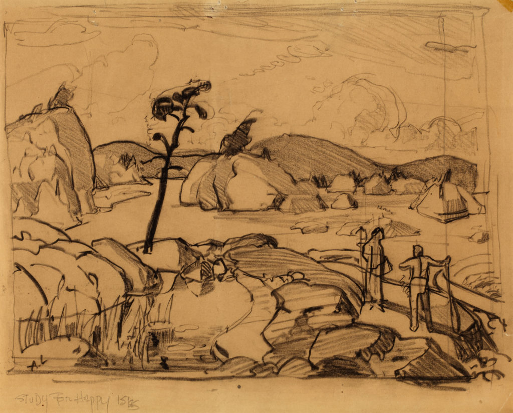 Sketch of a landscape with large boulders and two figures in bottom right by Arthur Lismer.