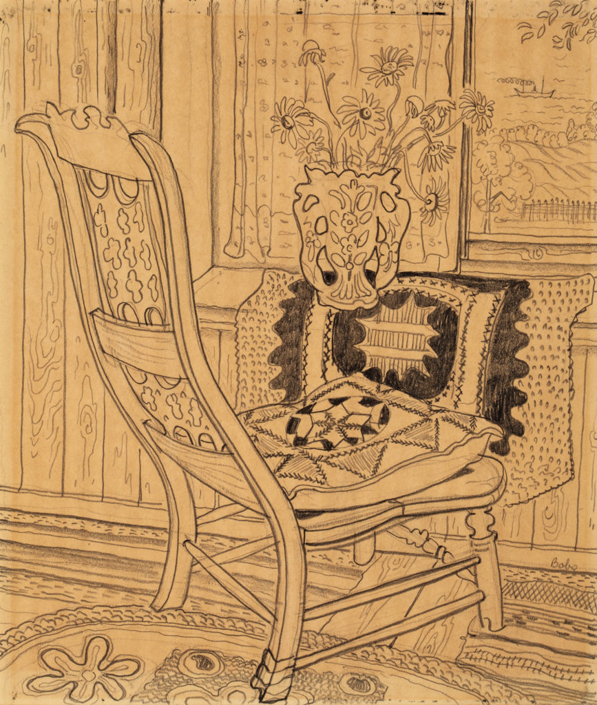Drawing of ornate chair in front of window.