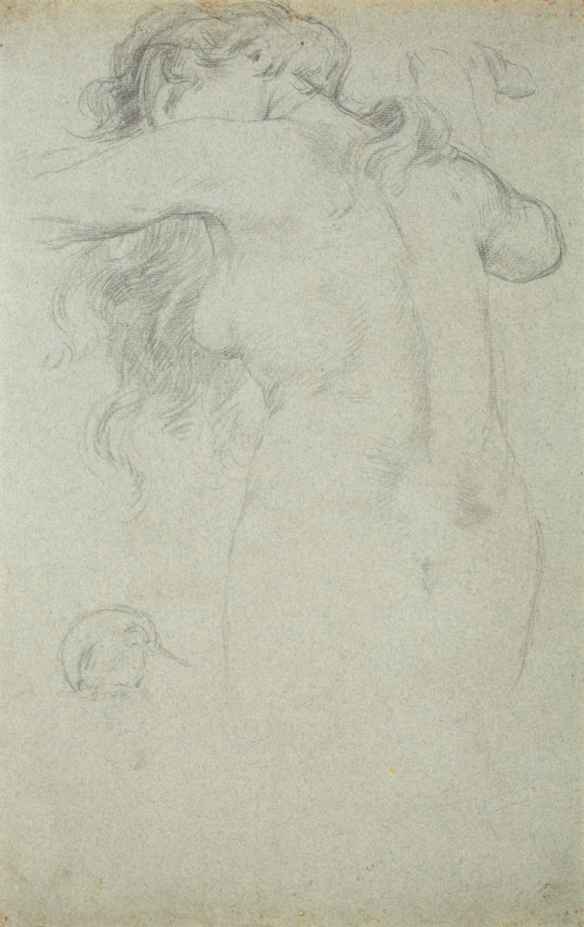 Drawing of a nude woman with long hair facing away from the viewer.