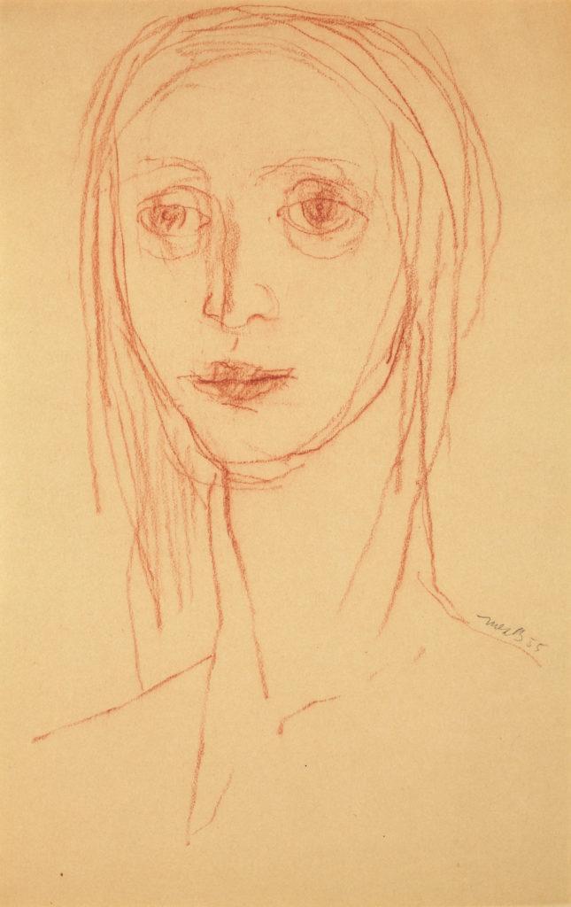 Sketch of a female head by Miller Brittain.