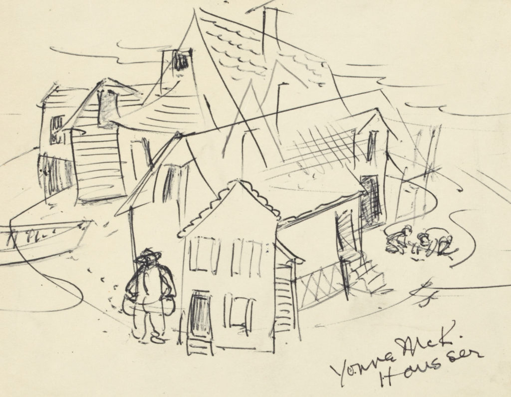 Sketch of a street view with houses and figures.