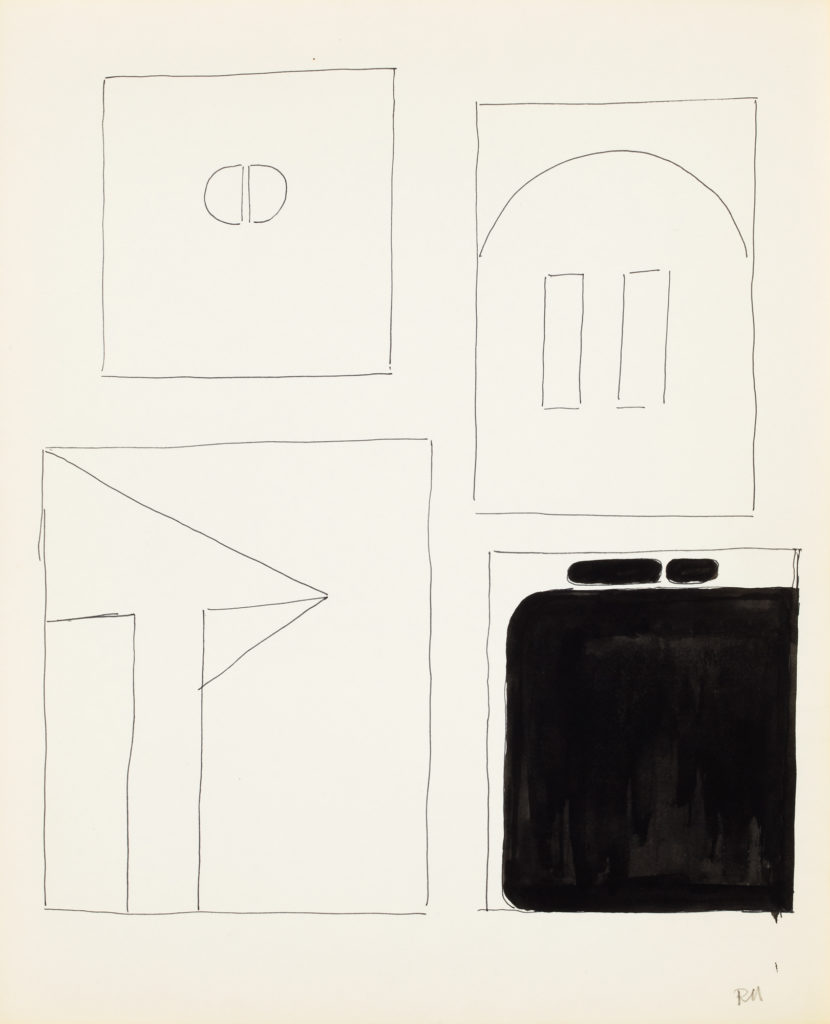 Graphic drawing with rectangular shapes and one shape filled in with black ink.