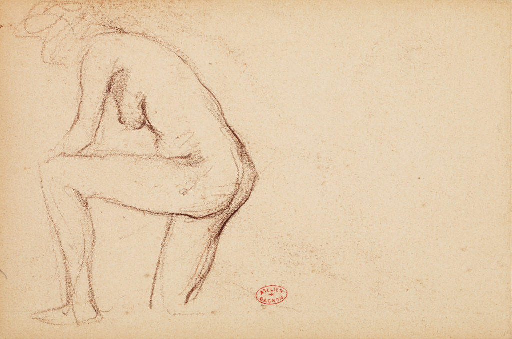 Sketch of a nude woman kneeling on one knee by Clarence Gagnon.