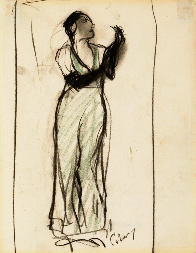 Sketch of a woman in a dress with long gloves by F.S. Coburn.