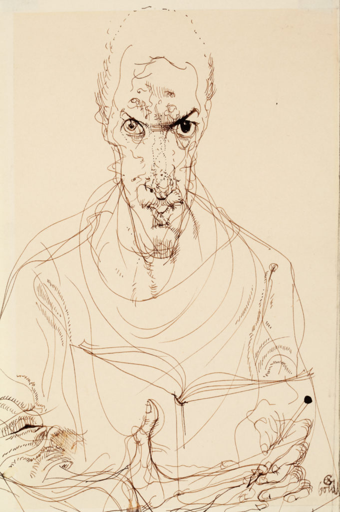Sketch of a man holding a book and pen looking at the viewer.