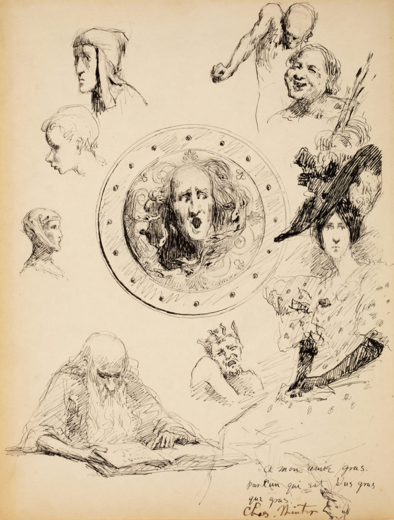 Group of character sketches by Charles A. Winter.