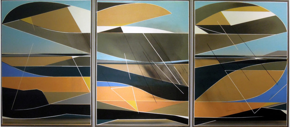 An oil painting made on three panels of wooden board. Contains abstract shapes with orange, brown and blue tones, as well as black and white.